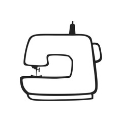 Vector hand drawn icon of sewing machine