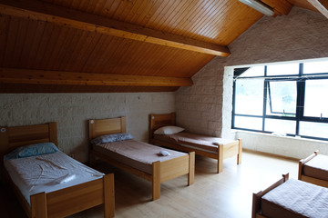 Bedroom in a Hostal on the Way of St. James in Spain