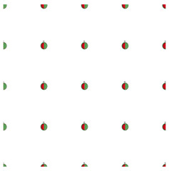 Seamless background flat design red and green watermelon on white stock vector illustration
