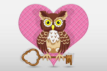 Heart and owl holds the key to it Valentine's Day