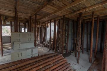 Fototapeta Deskowanie stropu, budowa domu obraz