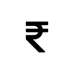 Black Indian rupee sign vector icon