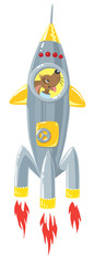 Funny dog in rocket.