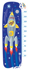 Funny dog in rocket. Meter wall or height chart