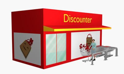 Discounter mit Sale-Plakat und Einkaufswagen aus Seitenansicht mit 3d-Person.