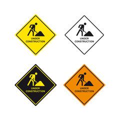 Under construction men at work road sign set