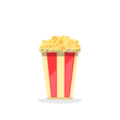 flat vector image of a glass with popcorn on a white background