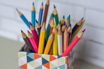 closeup of colorful pencils in pencil case