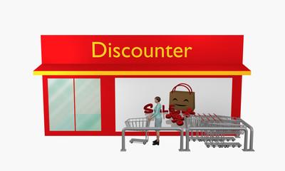 Discounter mit Sale-Plakat und Einkaufswagen aus Vorderansicht mit 3d-Person.