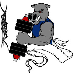 muscle hippo cartoon fitness weight training gym in vector format