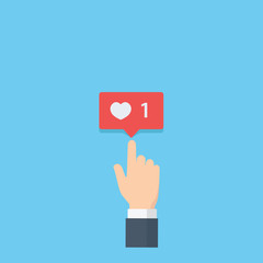 Hand giving love rating on social media, Pointing hand and love bubble notification, heart like notification