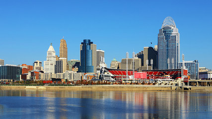 View of the Cincinnati, Ohio skyline on a beautiful day