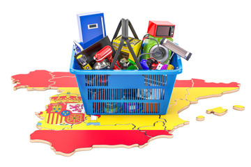 Map of Spain with shopping basket full of home and kitchen appliances, 3D rendering