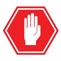 hand stop sign for traffic road sign vector icon