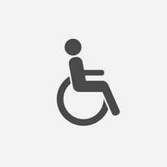 person in wheelchair vector icon for signs and medical symbols gray vector