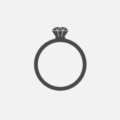 diamond ring jewellery for wedding and proposal vector icon love and marriage
