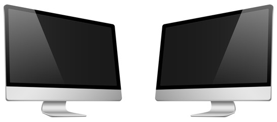 Realistic 3D Computer right and left view, with a black screen, isolated on a white background.
