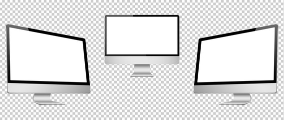Realistic 3D Computer right, front and left view, isolated on a transparancy background.