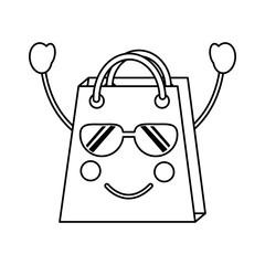 shopping bag happy sunglasses  emoji icon image vector illustration design  black line