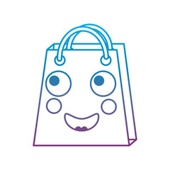 shopping bag happy emoji icon image vector illustration blue to purple ombre line