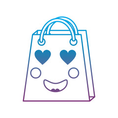 shopping bag heart eyes  emoji icon image vector illustration design   blue to purple ombre line