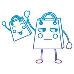 shopping bag emoji icon image vector illustration design  black line blue to purple ombre line