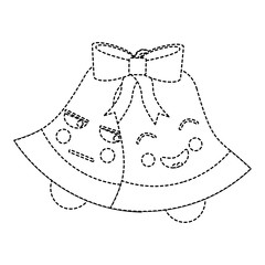 christmas bell emoji icon image vector illustration design  black dotted line