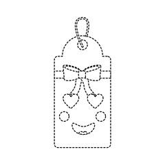 gift or price tag heart eyes emoji icon image vector illustration design   black dotted line