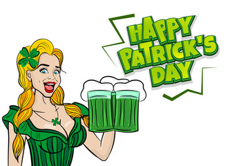 Blonde laughter cute girl. Happy St Patrick's Day pop art. Sexy woman wow face ale green glass. Holiday vector illustration greeting. Shamrock cartoon clover. Funny colored kitsch. Comic book text.