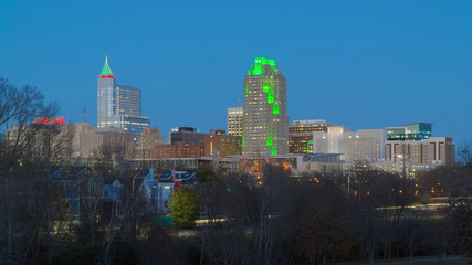View on Downtown Raleigh, NC USA at dusk