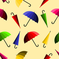 Colorful umbrella on light yellow background. Seamless pattern vector.