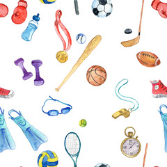 watercolor sport doodle seamless pattern