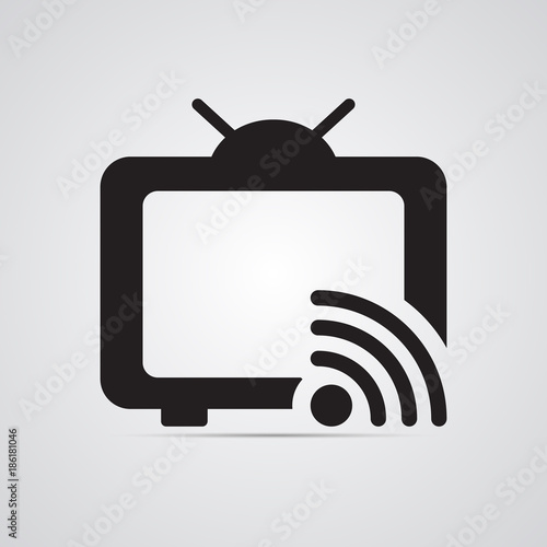 Silhouette flat icon, simple vector design with shadow. TV with ...