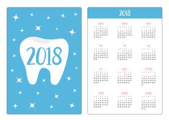 Pocket calendar 2018 year. Week starts Sunday. Healthy tooth icon. Oral dental hygiene. Children teeth care. Shining stars effect. Blue background with stars. Flat design.