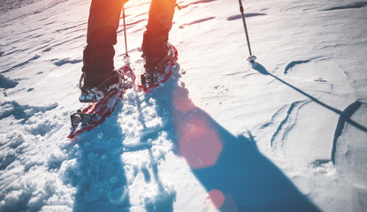 Man in snowshoes.