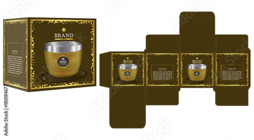 packaging design cosmetic container on luxury box design template