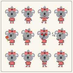 Set of charming little koala girl in various poses. Collection emoticons of isolated girls koala in cartoon style.