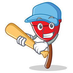 Playing baseball plunger character cartoon style