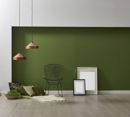 modern wall concept wooden frame and chair green background