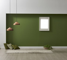 decorative room living style with green wall and frame decoration