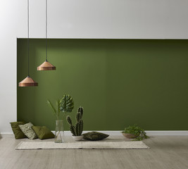 empty green wall room and living room