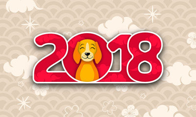 Happy Chinese New Year 2018 Card with Dog, Abstract Eastern Background Design