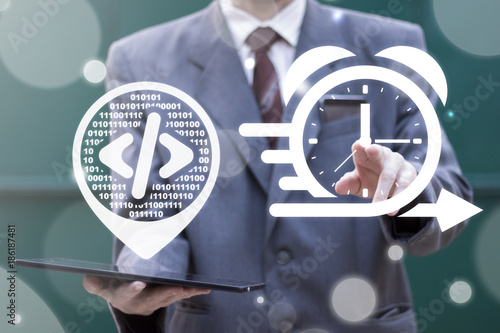 Agile API Development Business concept  Businessman using