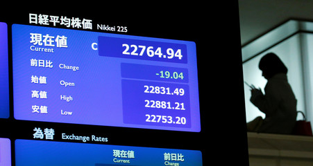 A stock quotation board displaying Japan's Nikkei average is seen after a ceremony marking the end of trading in 2017 at the TSE in Tokyo