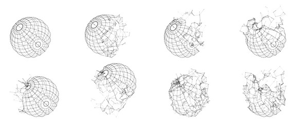 Broken Polygonal Wireframe Sphere. Fractured Geometric Form. Lines Network Polygons of Circle