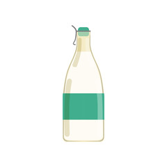 Drinking yogurt, kefir or milk in glass bottle with green sticker. Dairy beverage. Natural product. Flat vector design for business or promotional poster