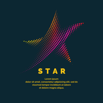Modern colored logo star in a futuristic style. Vector illustration on a dark background.