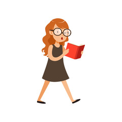 Cute nerd girl walking and reading book. Pupil with interested face expression in black dress and glassed. Cartoon character of smart kid. Flat vector design