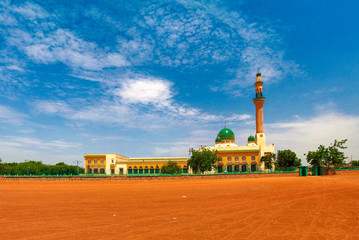 exterior view to Niamey Grand mosque in Niamey, Niger