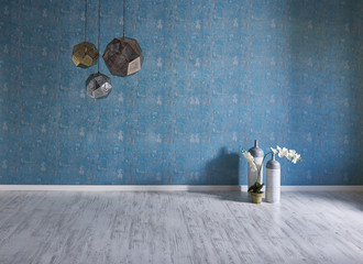 empty wall blue wallpaper living room ornaments and flowers
